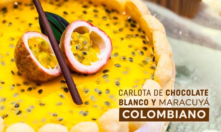 Carlota de chocolate blanco y maracuyá colombiano